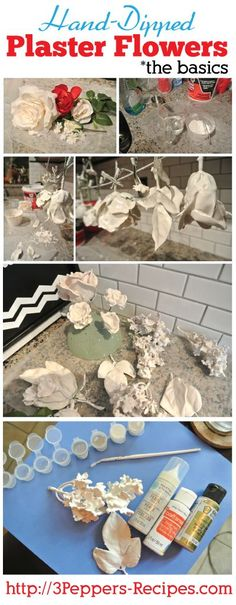 Hand-Dipped Plaster Flower Tutorial - the basics - from 3Peppers-recipes.com #diy #flowers
