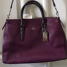 NWT!!!!!!  AUTHENTIC COACH HANDBAG Brand new and gorgeous!!!  Tags still on!  All leather plum with silver hardware with Python looking  handles and long detachable strap.  Just stunning, a real showstopper!!! Coach Bags Satchels