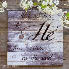 He has risen distressed wood look wall art easter sign christian jesus