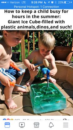 Giant ice cube projects for kids, diy for kids, crafts for kids, kids Kids Crafts, Craft Activities For Kids, Projects For Kids, Indoor Activities, Summer Crafts, Outside Kid Activities, Diy Projects, Activity Ideas, Toddler Crafts