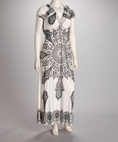Take a look at this Ivory & Black Aztec V-Neck Puff-Sleeve Maxi Dress - Women by Life and Style Fashions on #zulily today!