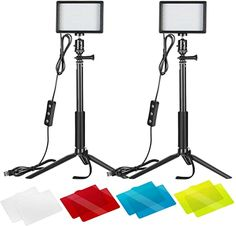 Amazon.com : Neewer 2 Packs Dimmable 5600K USB LED Video Light with Adjustable Tripod Stand/Color Filters for Tabletop/Low Angle Shooting, Colorful LED Lighting, Product Portrait YouTube Video Photography : Electronics Panel Led, Led Panel Light, Video Photography, Light Photography, Photography Camera, Food Photography, Led Selfie Ring Light, Appel Video, Low Angle Shot