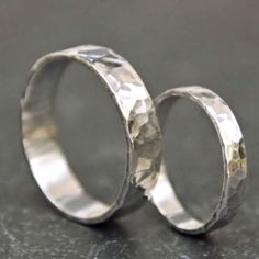 """""""His and Hers"""" Sterling Wedding Band Set"""