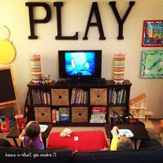 Kids Playroom With Tv love the scrabble letterskids room family room last name