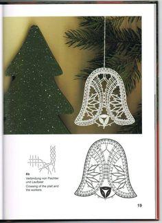 Kloppelspitze Weihnachtsentwurf - Her Crochet Hairpin Lace Crochet, Crochet Motif, Crochet Edgings, Crochet Shawl, Bobbin Lace Patterns, Bead Loom Patterns, Lace Earrings, Lace Jewelry, Christmas Bells