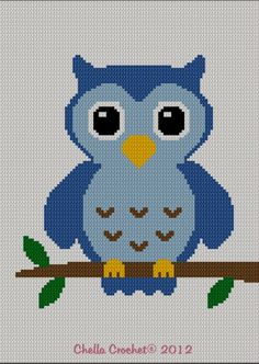 INSTANT DOWNLOAD Chella Crochet Easy Too Cute Blue Baby Owl Crochet Knit Cross Stitch Afghan Pattern Graph