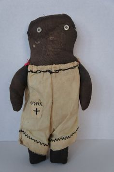 Small as found black cloth doll with button eyes antique (item #1314898, detailed views)