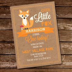 Fox Birthday Party Invitation - First Birthday Invitation - Instantly Downloadable and Editable File - Personalize at home with Adobe Reader by SunshineParties on Etsy https://www.etsy.com/listing/232331562/fox-birthday-party-invitation-first