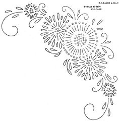 simplified floral corner embroidery pattern