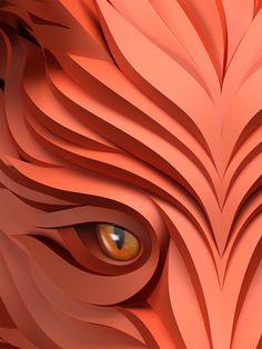 Predators prowl in these 3D-effect vector portraits