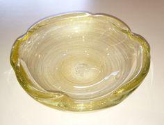 Clear Murano bowl w/gold incluions; ca. 1950