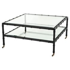 Mullins Global Bazaar Beveled Glass Top Square Black Coffee Table | Kathy Kuo Home
