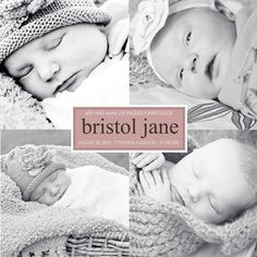 custom photo birth annoucement 5x5  square. by westwillow on Etsy, $15.00