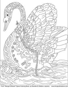 Free chained swan coloring page by Danielle DiStefano
