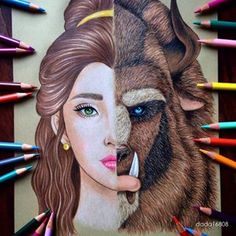 Artist dada16808 recently posted some beautiful, hand-drawn Disney mash-ups on Instagram. Just look at this spectacular mix of Belle and the Beast:   Community Post: You Have To See These Gorgeous Disney Mash-Up Drawings
