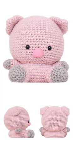 Crochet Pig, Crochet For Kids, Crochet Animals, Crochet Crafts, Crochet Toys, Amigurumi Doll, Amigurumi Patterns, Crochet Patterns, Crochet Ideas