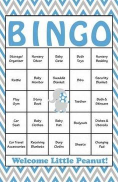 Elephant Baby Bingo Cards   Printable Download   Prefilled   Baby Shower  Game For Boy