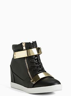 Plus Size Wedge Buckle Sneakers (Wide Width), BLACK