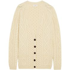 Saint Laurent Oversized chunky-knit wool cardigan (€1.225) ❤ liked on Polyvore featuring tops, cardigans, jackets, sweaters, slouchy cardigan, oversized cardigan, chunky knit cardigan, wool top and chunky oversized cardigan