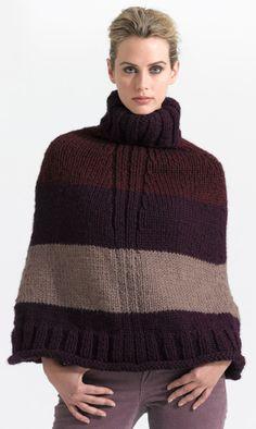 Lion Brand Sleek Striped Poncho free pattern