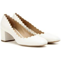 Chloé Lauren Leather Pumps (€700) ❤ liked on Polyvore featuring shoes, pumps, white, leather pumps, chloe shoes, leather shoes, white shoes and genuine leather shoes