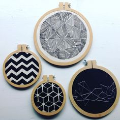 **lg b&w hoop** 8 Geometric embroidery pack - Embroidery Hoop Art- Hoop Home Decor Geometric…