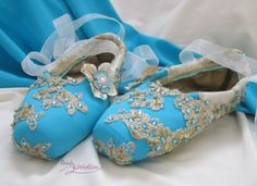 decorated old pointe shoes from pointe variation - a great idea  make some to match your room or favorite costume