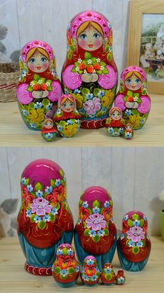 7 piece russian matryoshka doll in pink, red and turquois dress with bunch of strawberry. The price is 75$. For more information visit: www.bestrussiandolls.etsy.com