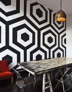 Geometric Printed Wall Covering Monochrom Design House Living Room Decor
