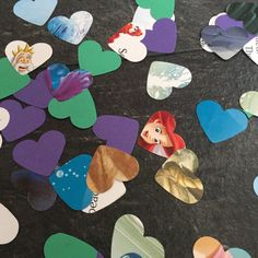 This pack contains approx 100 pieces of confetti which has been lovingly hand punched from the Disney Book The Little Mermaid. Each heart measures approx 1 inch and in each pack you will receive 100 pieces of confetti. This confetti would be great for scattering on tables as decorations or sprinkling on the floor. You can also use them for paper craft and scrapbooking