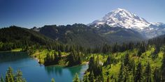 View south toward Eunice Lake and Mount Rainier (14,411') from Tolmie Peak.- Mount Rainier's 7 Best Day Hikes