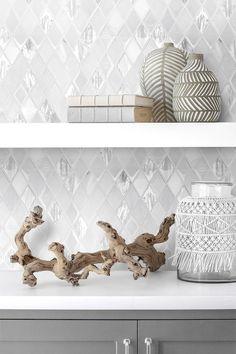 White Backsplash Tile Gray Cabinet White Quartz Countertop