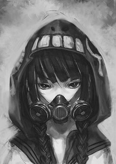 Manga Ariel Wydnie wearing a gas mask in the later volume. Sort of tells the story, doesn't it? Manga Anime, Art Manga, Otaku Anime, Manga Girl, Anime Art, Anime Girls, Dark Anime Girl, Anime Mascaras, Mascara Anime