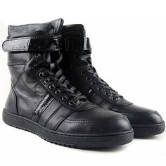 Black Leather Cyber Goth Punk Style Lace Up Motorcycle Biker Snow Boots for Men SKU-1280051