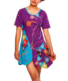 Look what I found on #zulily! Purple & Blue Patchwork Sidetail Dress - Women #zulilyfinds