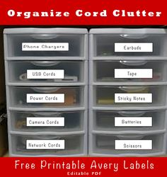 Free printable labels to Organize Cord Clutter. This is an easy quick DIY fix that will take you an hour to create and will pay off by saving time and frustration.