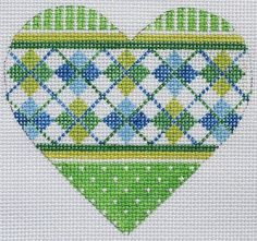 """Green and Blue Argyle Mini Heart needlepoint  by Kate Dickerson Size: 3.5"""" x 3.25"""" Mesh Count: 18"""