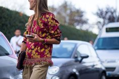 Milan street style trends: decadent embroidery and rich, heavy fabrics are out in full force.
