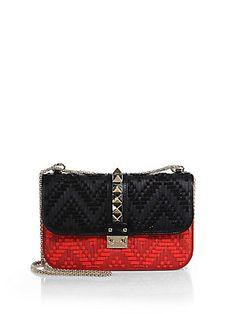 Valentino Rockstud Medium Two-Tone Beaded Lock Shoulder Bag $4045.00 red and black.
