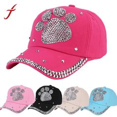 984d393ed12 FEITONG 2018 Summer New Fashion Baseball Cap Rhinestone Paw Shaped Boy  Girls Pokemon Snapback Hat