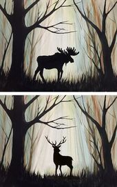 """Search results for """"Painting with Moose"""" – Painting Painting Art – Graffiti World Silhouette Painting, Moose Silhouette, Easy Paintings, Acrylic Paintings, Deer Paintings, Learn To Paint, Pics Art, Pictures To Paint, Painting Inspiration"""