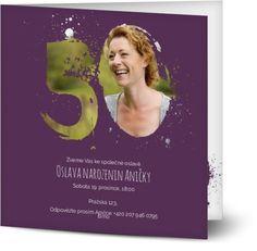 Vlastní pozvánky na oslavu 50. narozenin   Optimalprint Invite Friends, Make Color, Design Crafts, Birthday Invitations, Card Stock, Digital Prints, Cards, Beautiful, Fingerprints