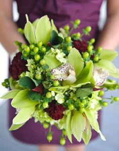 bright green bouquet for a spring wedding minus the purple or red whatever that color is
