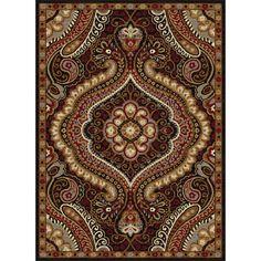 Alise Rhythm Ivory and Black Paisley Area Rug (7'6 x 9'10)