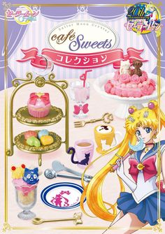 Re-ment Sailor Moon Sailormoon Crystal miniature Cafe Sweets Collection 8 PCS Sailor Moons, Sailor Moon Cafe, Sailor Moon Toys, Moon Food, Sailor Moon Collectibles, Sailor Moon Merchandise, Sailor Moon Kristall, Cherry Cake, Rement