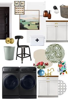 Our Basement Laundry Room Makeover - Making it Lovely Old Basement, Basement Laundry, Painted Concrete Floors, Laundry Room Inspiration, Room For Improvement, Wooden Counter, White Cabinets, Storage Spaces, Home Appliances