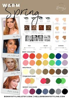 Bright Spring, Warm Spring, Warm Autumn, Spring Color Palette, Spring Colors, Seasonal Color Analysis, Spring Hairstyles, Color Palate, Season Colors
