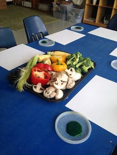 Side by Side Studio | Reggio inspired art Invitation to Paint with Vegetables
