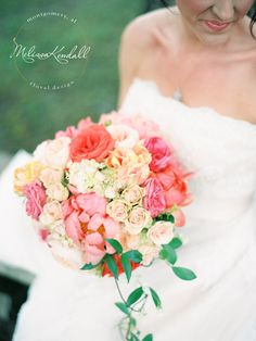 Wedding Bouquet Roses and Peonies Pink, Blush, Red  www.melissakendall.com