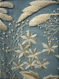 Antique embroidered morning gown dress (detail), ca.1870s. Trained pale China blue wool twill with Watteau back and two-tone embroidery